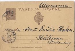 BONITO ENTERO POSTAL. 1895. TARJETA POSTAL. 10 CÉNTIMOS PELON. De Madrid A Alemania
