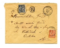 !!! ALGERIE : LETTRE RECO POUR CONSTANTINE DE 1903 AFFRANCH MOUCHON CACHETS PERLES DE GRAREM - Marcophilie (Lettres)