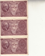 """Banconote Da 5 Lire Lotto Di 3 Biglietti_ N°0724 Serie 485345/6/7-"""" 2 SCANSIONI- - Italia"""