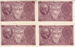 """Banconote Da 5 Lire Lotto Di 4 Biglietti_ N°0725 Serie 213051/54/55/58-"""" 2 SCANSIONI- - Italia"""