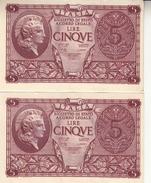 """Banconote Da 5 Lire Lotto Di 2 Biglietti_ N°0778 Serie 965077/8-"""" 2 SCANSIONI- - Altri"""