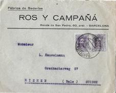 1926 Letter Of Spain To Switzerland, ROS Y CAMPANIA - 1931-Heute: 2. Rep. - ... Juan Carlos I