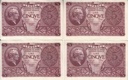 """Banconote Da 5 Lire Lotto Di 4 Biglietti_ N°1083 Serie 044003/04/05/08-"""" 2 SCANSIONI- - Other"""