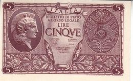 """Banconote Da 5 Lire Lotto Di 1 Biglietto_ N°0795 Serie 445311-"""" 2 SCANSIONI- - Italia"""