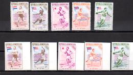 1957  Dominicainejeux Olympiques De Melbourne, BF 3 / 4**+ N D + Série 444 / 448**+ Nd, Cote 66 €