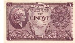 """Banconote Da 5 Lire Lotto Di 1 Biglietto_ N°0754 Serie 373799-"""" 2 SCANSIONI- - Italia"""