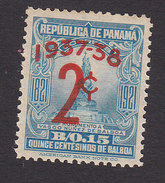 Panama, Scott #308, Mint Hinged, Statue Of Balboa Surcharged, Issued 1937