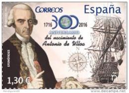 ESPAGNE SPANIEN SPAGNA SPAIN ESPAÑA 2016 EFEMÉRIDES: III Centenario De Antonio De Ulloa 1.30€ ED 5079