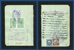 Syria 2 Overprint Revenue With Egypt Revenue Stamps On Used Passport Visas Page - Syria