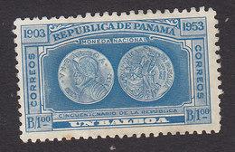 Panama, Scott #394, Mint Hinged, Nat'l Coins, Issued 1953 - Panama
