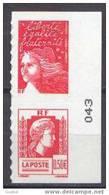 France Marianne Du 14 Juillet N° 3716 P Ou 43 P ** Autoadhésif Paire Verticale Numéroté Du Carnet Luquet + Alger - 1997-04 Marianne Of July 14th
