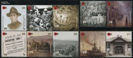 New Zealand 2016 ANZAC 1916 10v (2x[:] & [++]), (Mint NH), World War I - Paintings - Ships & Boats - Mail Boxes - Unifo.
