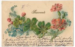 """CPA Fantaisie - Gaufrée - Composition Florale - """"Souvenir"""" - Fêtes - Voeux"""