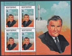 Specimen, Montserrat Sc938 Sheet, Aerospace Engineer And Space Architect Wernher Von Braun (1912-77), Rocket, Espace