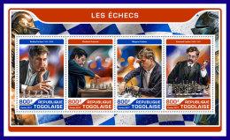 TOGO 2017 ** Chess Schach Echecs Fischer Kramnik Carlsen Lasker M/S - IMPERFORATED - DH1720