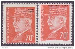 France N°  511 + 511_p ** Maréchal Pétain Au Type Hourriez - Variété. Piquage Décalé Sur Le 70 C Orange