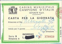 Casino Municipale Campione D'Italia 24-Feb-80 Carta Per La Giornata - Casino Cards
