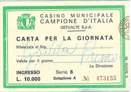 Casino Municipale Campione D'Italia11-OTT-80 Carta Per La Giornata (Date Stamp Is Faint)