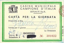 Casino Municipale Campione D'Italia 6-APR-80 Carta Per La Giornata