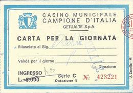 Casino Municipale Campione D'Italia 21-FEB-80 Carta Per La Giornata