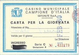 Casino Municipale Campione D'Italia 19-FEB-80 Carta Per La Giornata
