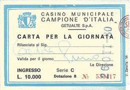 Casino Municipale Campione D'Italia 26-OTT-80 Carta Per La Giornata - Casino Cards