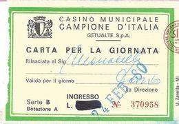 Casino Municipale Campione D'Italia 24-FEB-80 Carta Per La Giornata