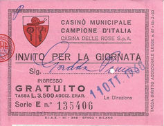 Casino Municipale Campione D'Italia 11-OTT-1968 Invito Per La Giornata