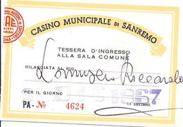 Casino Municipale San Remo Entry Pass Dated 30-DIC-1967