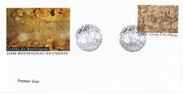 """Ensemble 1er Jour """"Grotte De Rouffignac"""" Du 27-05-2006 + Triptyque  + Gravure + Notice - Lettres & Documents"""
