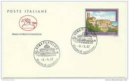 Italy 1987 Tourist Type Of 1974  Vasto, FDC, Primo Glorno Demissione Issued 09-05-1987 Italia 500 - Archéologie