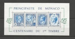 MONACO - BLOC NEUF** N° 33 - 1985 - CENTENAIRE DU 1er TIMBRE MONACO - VOIR SCAN