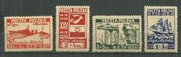 POLAND MNH ** 446A-D ANNIVERSAIRE DE LA LIGUE MARITIME. BATEAU. VOILIER. - 1944-.... République