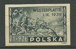 POLAND MNH **454 Non Dentelé, Anniversaire De La Bataille De Westerplatte, Armée, Tâche Et Leger Plie Au Verso