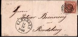 ! Kleiner Brief 1860 Aus Elmshorn Ringstempel Nummer 114 Nach Rendsburg, Rücks. Bahnpoststempel, Schleswig-Holstein - Schleswig-Holstein
