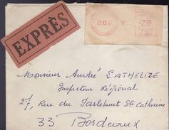 Lettre EXPRES 65 Argelès Gazoste (machine De Guichet) Pour Bordeaux Via Tarbes RP - Postmark Collection (Covers)