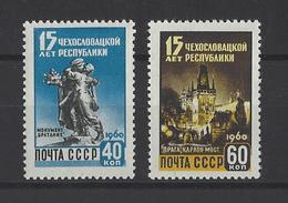 RUSSIE . YT 2276/2277 Neuf ** 15e Anniversaire De La Libération De La Tchecoslovaquie 1960