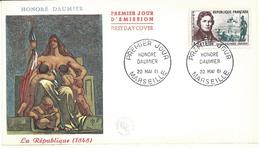 ENVELOPPE 1er JOUR - FDC - N° 1299 - DAUMIER - Année 1961 - 1960-1969