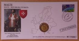 Malte 2 Euro 2008 Enveloppe Philatélique Et Numismatique - Malta