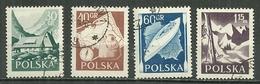 POLAND Oblitéré 857-860 Série Touristique Chalet Monts Tatra Sac Boussole Carte Kayak Rivière Ski Skis Montagne