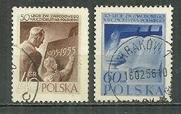 POLAND Oblitéré 843-844 Syndicat Des Instituteurs Polonais Instituteur élève école Livre