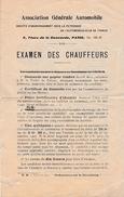 1910 - EXAMEN DES CHAUFFEURS - AUTOMOBILE-CLUB DE FRANCE - Documentos Históricos