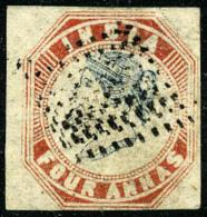 N°5, 4 A. Rouge Et Bleu, Oblitéré, Léger Pli D'angle Sinon TB - India (...-1947)