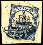 N°46, 20 Pf. Bleu, Oblitéré D'Anecho Sur Petit Fragment, TB