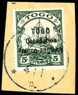 N°44, 5 Pf. Vert, Oblitéré Sur Petit Fragment, TB