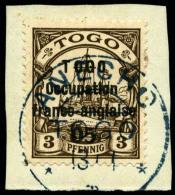 N°43, 05 C. Sur 3 Pf. Brun, Oblitéré Sur Petit Fragment, TB