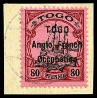 N°40, 80 Pf. Rouge Et Noir Sur Rose, Surcharge Type I, Oblitéré Sur Petit Fragment, TB