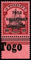 N°40, 80 Pf. Rouge Et Noir Sur Rose, Surcharge Type I, Bas De Feuille, Superbe