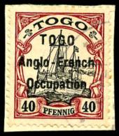 N°38, 40 Pf. Carmin Et Noir, Surcharge Type I, Oblitéré Sur Petit Fragment, TB