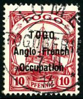 N°34, 10 Pf. Rouge, Surcharge Type I, Oblitéré, TB